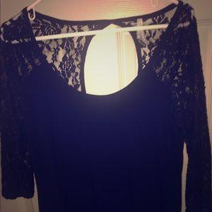Never worn, black lace shirt